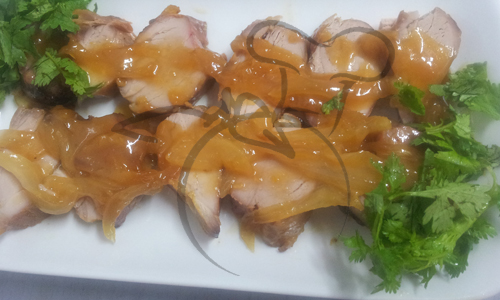 cerdo mermelada damasco